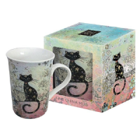 Pretty Patterned Black Cat Blue Foil Art Design Mug